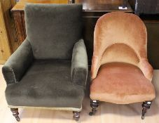 A late Victorian ladies armchair and a late Victorian nursing chair, both fully upholstered and each