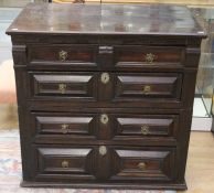 A late 17th Century joined oak chest of drawers, circa 1690, made from two sections, fitted with