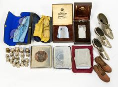 A collection of various items to include two silver thimbles along with various steel versions, base