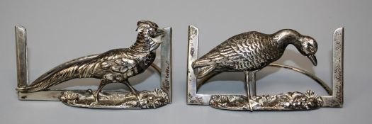 G and Co, a pair of Edwardian silver menu holders, one cast with a cock pheasant, the other a Goose.