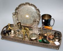 A silver plated gallery tray, a brass pig vesta, a silver mounted dressing table scent bottle,