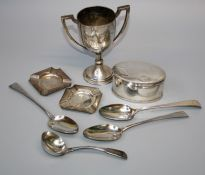 George Smith and William Fearn, a pair of silver tablespoons, London 1793, a silver sauce ladle,