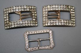 *** RE OFFER FEB 6TH £30-40***A pair of early 19th century paste set silver plated shoe buckles