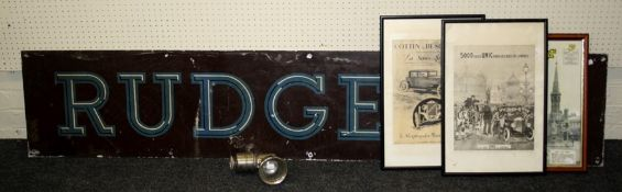 A mid 20th century tin Rudge bicycle sign (200 x 38cm), a P and H Ltd Revenge lamp, a reproduction