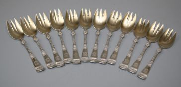 A set of Twelve late 19th century Gorham of Rhode-Island silver pastry forks with silver gilt and