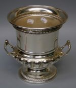 A large silver plated campagna form two handle champagne cooler. 25cm high