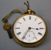 A late Victorian 18ct yellow gold key wind fob watch. Fitted a single fusee and lever escapement.