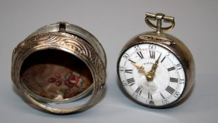 An 18th century silver pair cased pocket watches by William Barton of London. The single fusee