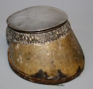 Thornhill, London (retailer), a silver mounted hoof inkstand with hinged cover(lacking liner),
