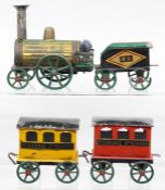 Emile Favre: A boxed, possibly of Emile Favre style, circa 1870, floor train, French, tinplate,