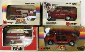 Diecast: A boxed Burago 1:24 scale Fiat 50 NC Antincendio 1509, Range Rover Airport Fire Engine