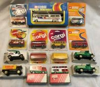 Corgi: A collection of assorted boxed and carded Corgi Routemasters and Corgi Juniors Including