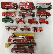Diecast: A collection of assorted diecast fire fighting vehicles to include Corgi, Dinky, Conrad,