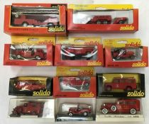 Solido: A collection of Solido die cast fire fighting vehicles to include 361 Mercedes Camion