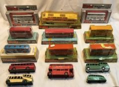 Dinky: A collection of assorted Dinky buses to include: Vega Major Luxery Coach 954, single decker