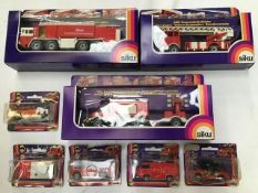 Diecast: Siku and Eligor fire fighting vehicles to include Siku 3411 Airport fire engine, 2819