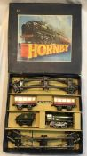 Hornby: A boxed Hornby O gauge clockwork train set, No. 1, In used condition.
