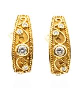 A pair of diamond and 18ct yellow gold fancy hoop earrings, comprising half hoop with overlaid