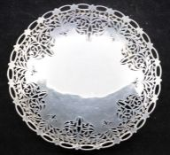 A George VI silver large circular fruit bowl, reticulated scrolling decoration, byA E Poston & Co