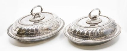 A pair of Victorian silver-plated entree dishes and covers, Hawksworth Eyre & Co, approx 30cm x