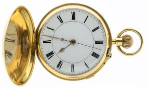 An 18ct gold hunter pocket watch, enamel dial with black Roman numerals and outer seconds track,