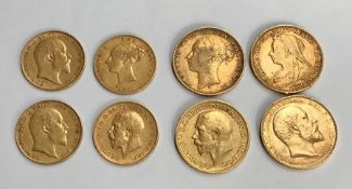 4 SOVEREIGNS DATED 1875s, 1895, 1907, 1911 4 HALF SOVEREIGNS DATED 1871 die number 8,1906, 1910,