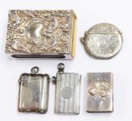 Three silver vesta cases, including circular engraved with foliate scrolls, WA, Birmingham 1906;