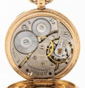 A 9ct gold Waltham open faced pocket watch, white enamel dial, black Roman numeral markers, outer
