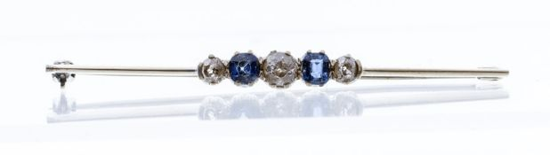 An Edwardian sapphire and diamond set 9ct gold bar brooch, comprising three graduated old cushion