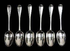 Tain silver: A set of six early 18th Century Scottish Provincial silver Hanoverian table spoons,