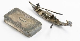 A French 19th Century silver rectangular snuff box, foliate decoration to cover with thumpieces,