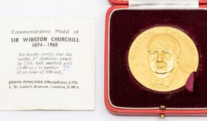 A 22ct gold cased commemorative medal, Sir Winston Churchill, John Pinches, London 1965, signed L.