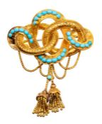 A Victorian Etruscan revival love knot 15ct gold and turquoise brooch, comprising interlocking loops