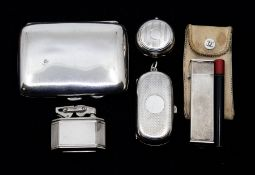 A silver double sovereign case, machine engraved decoration with vacant cartouche, Birmingham