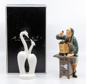 Royal Doulton figure of the Clock Maker along with a boxed Coalport figure of Moments
