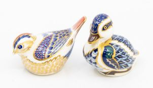 Two Royal Crown Derby silver stopper paperweights, a duck and a garden bird