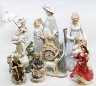 Two Nao figures; two Spanish figures including a clock; Royal Doulton lady; Continental lady, and