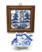Early 19th Century pickle dish, blue and white Willow pattern, along with 19th Century Delft tile (