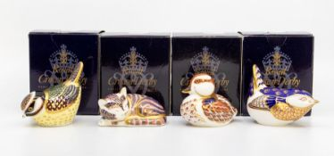 Four Royal Crown Derby paperweights, gold stoppers and in boxes, including two garden birds, duck
