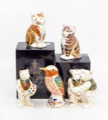 Five Royal Crown Derby paperweights, two kittens including boxes, Kingfisher, all gold stoppers, two