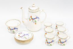Mid 20th Century Shelley china tea set with teapot, missing cream jug, bird of paradise pattern