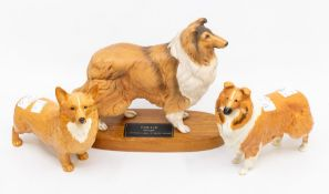 Two John Beswick dogs, along with a Connoisseur Beswick collie on stand