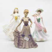 Three Coalport lady figures including The Romantic, Bride, Summer Days, First Waltz