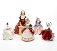 Five Royal Doulton ladies including Judith, Valerie, Karen, Sara, and Dinky Do, no chips or cracks