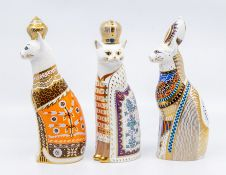 Royal Crown Derby paperweights, no stoppers, including a Royal cat, Egyptian, Russian and Siamese