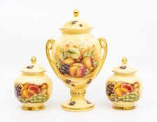 Aynsley Orchard Gold lidded urns/pots, with fruit detail