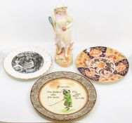 Crown Staffordshire commemorative boxing bowl, Royal Doulton Proverbs plate AF, and 19th Century