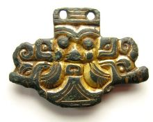 Anglo-Saxon Chip-Carved Terminal. Circa 6th - 7th Century AD. Size: 40.68 mm. A knop or wing
