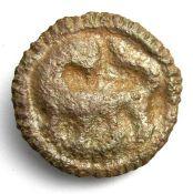 Anglo-Saxon Disc Brooch.  Circa 9th - 10th century AD. Copper-alloy, 3.73 grams. 24.05 mm. The