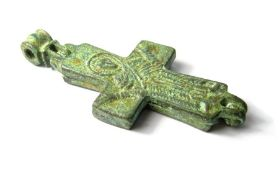 Byzantine Reliquary Cross.  Copper-alloy, 31.32 grams. 76.70 mm. Circa 10th-12th century AD. A